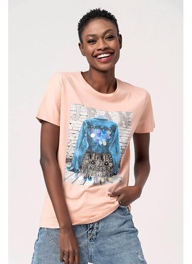 Coral Pullu Püsküllü Kot Baskılı T-Shirt Pudra Pudra